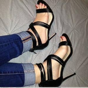 Nicole Miller strappy black heels